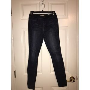 Two-Tone High Rise Skinny Jeans